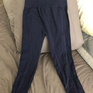 Navy embroidered leggings, bottoms